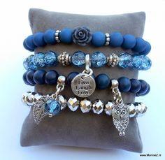 armbanden set nachtblauw/zilver