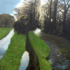 David Inshaw's recent paintings present a subtle new perspective on his lifelong love of nature, and reinforce Simon Rae's endorsement of the artist as one of our finest contemporary landscape painters. Green Landscape, Landscape Art, Landscape Paintings, Amazing Paintings, Nature Paintings, Contemporary Landscape, Contemporary Paintings, Tate Gallery, Art Pages
