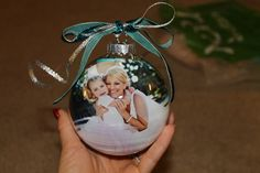 DIY Personalized Christmas Ornament with Photo and Wedding Invitation