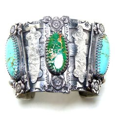 Iconic Sterling Cuff with Turquoise and other stones by Alex Vazquez, via Behance