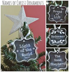 Names of Christ - free printable ornaments - ldslane.net (would be cute on small tree for Relief Society)
