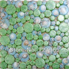 Glass mosaic wall tile kitchen back splash resin embedded shell mosaics