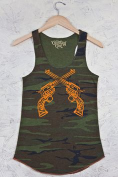 Country Girl Store - Printed Racerback Tank - Guns Crossed on Camo, $32.00 (http://www.countrygirlstore.com/juniors/tank-tops/juniors-crossed-guns-camo-racerback-tank/)