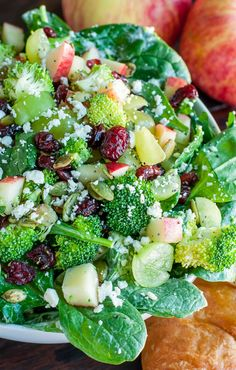 This colorful crisp Apple Cranberry Spinach Salad with Broccoli and ...