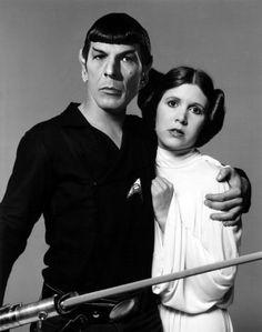 Spock and Princess Leia #Startrek #StarWars #Whenworldscollide  -