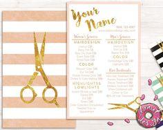 Premade gold striped hair stylist service list, price list, salon brochure, template