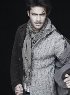 The Gray Layers of Winter, Double Breasted Pea Coat, Cabled Hooded Cardigan, and Scarf. Men's Fall Winter Fashion.
