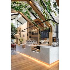 Boutique Coffee Roaster Coperaco's First Cafe Holds a Modern Tree... ❤ liked on Polyvore featuring room