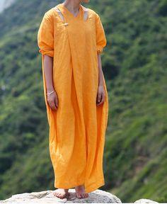 Orange Women Dress Linen Dress Long Dress Maxi by fashiondress6