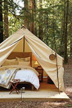 The walled tent comes from Portland, Oregon's Beckel Canvas and is a custom-sized Eena Wall Tent. Beckel has a range of cool canvas tents.
