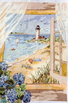 Completed cross stitch picture of Lighthouse Completed by SunSelle