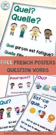 French Question Words: FREE posters Learning how to make questions is key to learning French (and any other language). This post includes FREE French question words posters (printable PDF) French Teaching Resources, Teaching French, Teaching Ideas, How To Speak French, Learn French, French Flashcards, French Education, Kids Education, Special Education