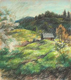 """A Valley Landscape,"" Willard Leroy Metcalf, 1919, pastel on paper, 12.75 x 11"", private collection."