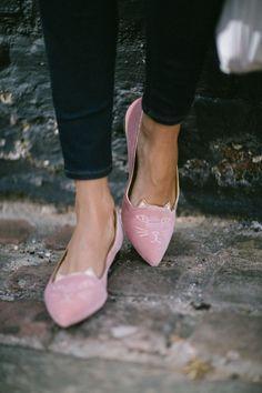 Charlotte Olympia pink Kitty Velvet flats.