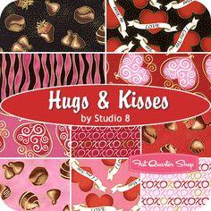 Hugs & Kisses Fat Quarter Bundle Studio 8 for Quilting Treasures - Fat Quarter Shop