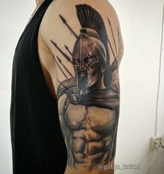 Leonidas tattoo from 300. Arm tattoo in black and grey