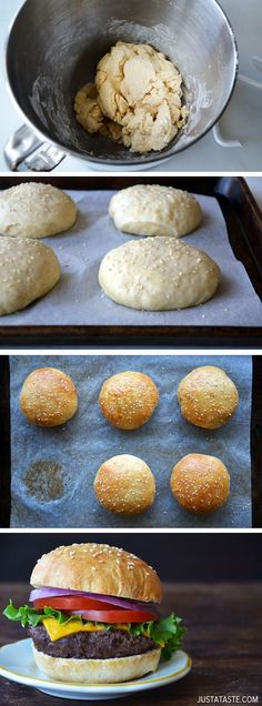 Easy Homemade Parmesan Hamburger Buns #recipe via http://justataste.com