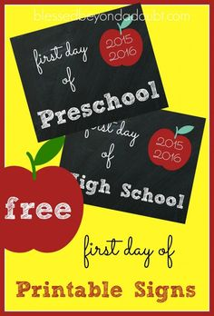 Super CUTE first day of school printables. They are FREE!