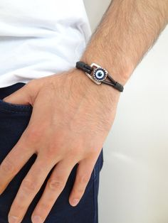 Excited to share the latest addition to my #etsy shop: Men Evil Eye Jewelry, Evil Eye Bracelet, Thick Leather, Men's Leather, Fashion Bracelets, Fathers Day Gifts, Anniversary Gifts, Creations, Silver