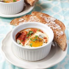 Baked Eggs with Parmesan, Spinach and Tomatoes. Bake in airfrer for 8 to 10 minutes at 200deg.