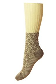 Sorrel women's wool knee-high socks in oatmeal. English-made by Scott-Nichol