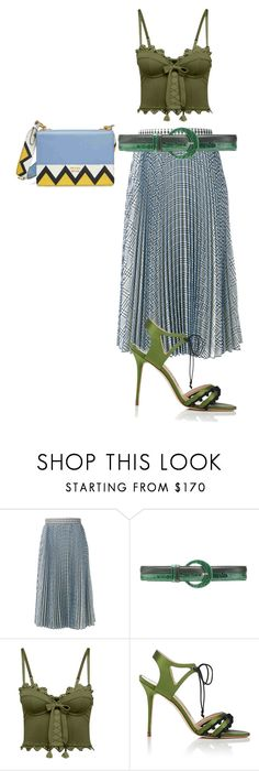 """blue and green"" by hyuna-newmoon ❤ liked on Polyvore featuring MSGM, Oscar de la Renta, Puma, Manolo Blahnik and Prada"