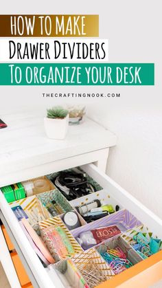 Using nothing but cardstock (plain or patterned), you can create some pretty DIY drawer dividers in a matter of minutes that will tame your drawer-mess monster. #organization #deskorganization #drawerorganization #drawerdividers #drawerorganizing