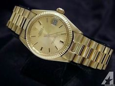 for sale, The original Rolex solid yellow gold case with fluted bezel is in super exce. Americanlisted has classifieds in Keller, Texas for watches and jewerly Rolex Watches For Sale, Luxury Watches, Rolex Watch Price, High End Watches, Rolex Day Date, Brown Band, Champagne Diamond, Vintage Rolex