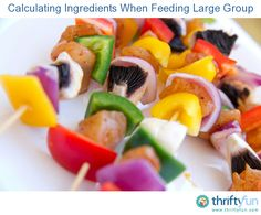 This guide is about calculating ingredients when feeding large group. Preparing a meal for lots of people at the same time, takes a lot of planning. It is a challenge to determine the amount of food you will need.