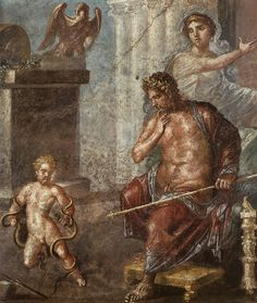 Hercules strangling the snakes before the eyes of Amphitryon and Alcmene -  Fragment, Fresco from the exedra of House of the Vettii in Pompeii