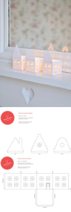 houses candle holder template in 3 styles - free printable download