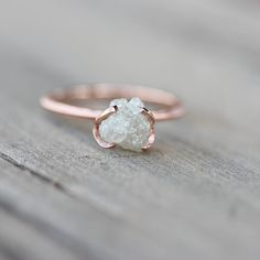 Rough Diamond Rose Gold Engagement Ring White by NangijalaJewelry