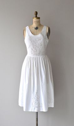 Beaches in Paros dress white cotton eyelet dress by DearGolden