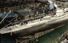 """Launching the first Type VIIC U-boat, U-69 on 19 September 1940 at the F. Krupp Germaniawerft AG, Kiel""""."""
