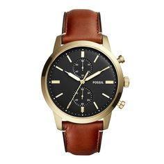 With a minimalistic approach, the Townsman dress watch has a symmetrical style, drawing attention to its refined construction, like its elegantly vaulted hands, double sub-eyes and bold black dial. Herren Chronograph, Fossil Watches, Women's Watches, Shopping Bag, Fragrance, Accessories, Outfits, Black, Style
