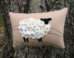 Ireland Sheep Primitive Embroidery Pillow OOAK by WickedlyCreative Button Art, Button Crafts, Sewing Projects, Craft Projects, Craft Ideas, Primitive Embroidery, Woodland Fabric, Dmc Floss, Vintage Buttons