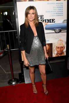 Pin for Later: The Looks So Good You'll Forget All About the Emmys Jennifer Aniston Jennifer Aniston looked rich enough to be embarking on a life of crime while wearing shimmering silver Saint Laurent to Life of Crime's LA premiere.