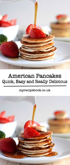 Quick and simple to make and delicious served with fresh fruit and maple syrup. Quick and simple to make and delicious served with fresh fruit and maple syrup. I Love Food, Good Food, Yummy Food, Breakfast Desayunos, Breakfast Recipes, Pancakes And Waffles, Beignets, Savoury Cake, Clean Eating Snacks