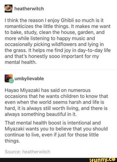 I have seen most Studio Ghibli movies and this is one of many reasons why each resounds so much with my heart. Particularly Castle in the Sky, Howl's Moving Castle & Princess Mononoke Mbti, Out Of Touch, Fandoms, Howls Moving Castle, Hayao Miyazaki, Faith In Humanity, Finding Joy, In This World, Feel Good