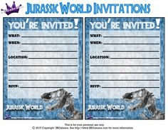 Dinosaur Printables Jurassic Park Party World Crafts 8th Birthday Ideas Stuff Invitations Birthdays
