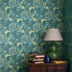 From the Morris & Co collection 'Morris Seaweed' design in cobalt and thyme shows a free flowing and sinuous pattern which captures the underwater movement of plants. From the new William Morris Archive III collection, buy online today. William Morris Wallpaper, Morris Wallpapers, William Morris Tapet, Floral Wallpapers, Fabric Wallpaper, Of Wallpaper, Designer Wallpaper, Pattern Wallpaper, Wallpaper Designs