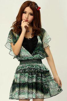 #ROMWE Dots Print Magyar Sleeves Green Dress