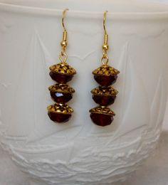 Victorian Deep Red Scarlet Dangle Earrings by rosepetalsjewelry, $15.00