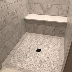 Carrara 2 x 2 Hexagon Porcelain Mosaic Tile Carrara 2 x 2 Hexagon Porcelain Mosaic Tile with Mapei Warm Gray grout. Shower Floor Tile, Bathroom Floor Tiles, Bathroom Mirrors, Bathroom Cabinets, Bathroom Fixtures, Mosaic Shower Tile, Gray Shower Tile, Bathroom Tile Installation, Bathroom Tray