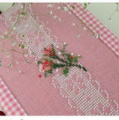 Lovely floral/roses cross stitch embroidered tablecloth in white linen from Sweden Cross Stitch Tree, Cross Stitch Books, Modern Cross Stitch, Cross Stitch Flowers, Cross Stitching, Cross Stitch Embroidery, Hand Embroidery, Funny Cross Stitch Patterns, Cross Stitch Designs