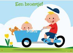 Geboortekaart met jongetje op fiets- Greetz