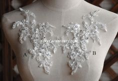 Gorgeous Alencon Ivory Lace Appliques Sequined Pearl by Lacebeauty, $5.99
