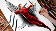 Drawing Katniss from The Hunger Games: Mockingjay Part 2 Materials: Caran d'Ache Luminance Colored Pencils, Caran d'Ache Grafwood Pencils, Copic … Hunger Games Drawings, Hunger Games Characters, Hunger Games Trilogy, Pencil Drawings Tumblr, Cartoon Drawings, Katniss And Peeta, Katniss Everdeen, Amazing Drawings, Easy Drawings
