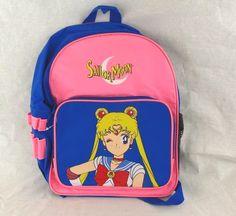 "Sailor Moon Backpack 14"" Pink & Blue Anime Child's Kids Girls School Book Bag"