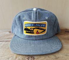 8bcfcc31a98a7 Vintage 1980s PARKER PACIFIC Denim Snapback Hat Jean Baseball Cap Victory  Canada